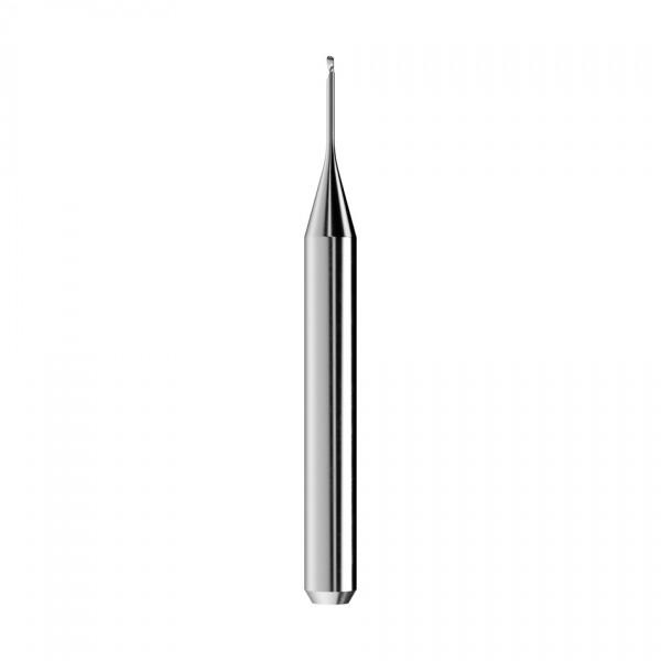 VHM-Radiusfräser Ø0,6mm, optimiert für die PMMA, PEEK, Wachs-Bearbeitung